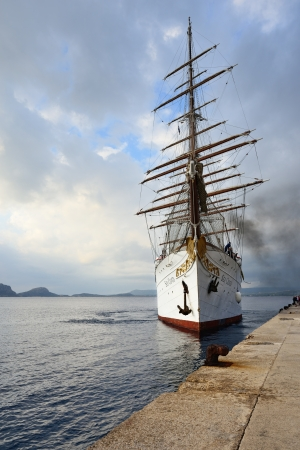 barque: GREECE, PYLOS – 5 OCT  Sailfish Sea Cloud in the port of Pylos on october 5, 2013  Built as a private yacht in 1931 in Kiel, today the four-masted barque is at home on the world's oceans as a cruise ship extraordinaire Editorial