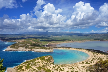 messinia: One from the best beaches in mediterranean Europe, beautiful lagoon of Voidokilia from a high point of view, Messinia, Greece