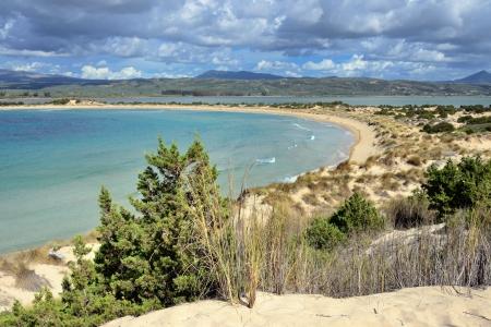 messenia: One from the best beaches in mediterranean Europe, beautiful lagoon of Voidokilia, Messenia, Greece. Focus foreground