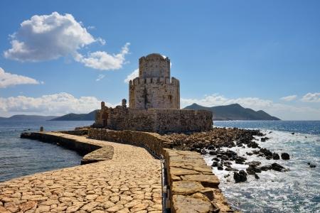 bourtzi: The Bourtzi tower in Methoni Venetian Fortress in the Peloponnese, Messenia,  Greece. Stock Photo