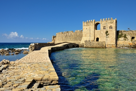 Bridge to the gate in Methoni Venetian Fortress in the Peloponnese, Messenia,  Greece.