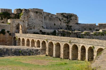 messenia: Bridge to the gate in Methoni Venetian Fortress in the Peloponnese, Messenia,  Greece.