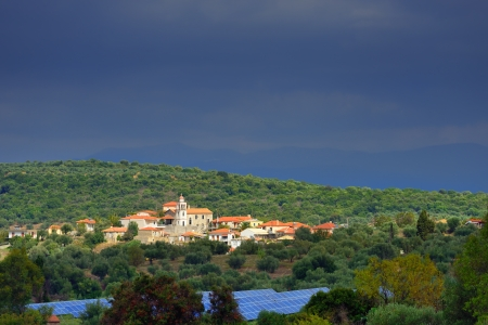 messinia: Picturesque mountain village in Greece after rain, Messenia