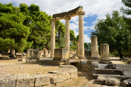 Greece Olympia, ancient ruins of the important Philippeion in Olympia
