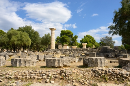 Greece Olympia, ancient ruins of the temple of Zeus Imagens - 22887041
