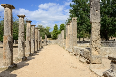 Greece Olympia, ancient ruins of the Palaestra, area in which athletes trained for wrestling in Olympi Imagens - 22887045