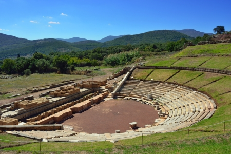Ruins of the Theatre of Ancient Messini, Messenia, Peloponnese, Greece