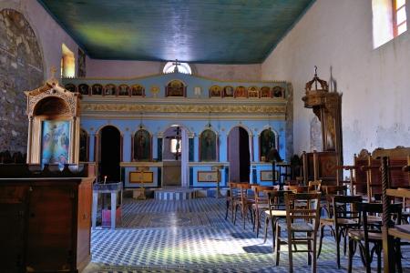 Orthodox church interiors in Methoni castle, Messenia, Greece