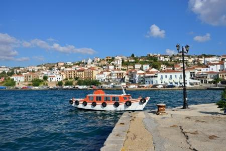 messinia: The boat in harbor of the town Pylos  Messinia, Navarino bay, Greece  Stock Photo