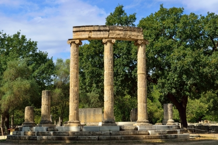 Greece Olympia, ancient ruins of the important Philippeion in Olympia, birthplace of the olympic games  -   UNESCO world heritage site   photo