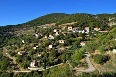 Picturesque mountain village in Greece, Messinia, Peloponnese photo
