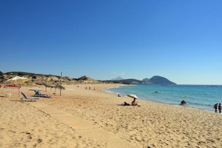 "GREECE - SEP 28  Navarino Dunes beach part of Costa Navarino Luxury resorts in Greece shown on sep 28, 2013  Costa Navarino voted as the ""Best Family Destination"" in Europe in 2012"