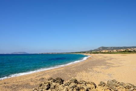 messinia: Costa Navarino beach part of Costa Navarino Luxury resorts in Greece Stock Photo