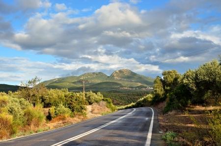messinia: Empty asphalt road in countryside after rain  Messinia, Greece