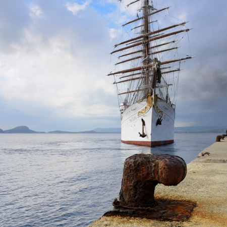 barque: GREECE, PYLOS – 5 OCT  Sailfish Sea Cloud in the port of Pylos on october 5, 2013  Built  in 1931 in Kiel, today the four-masted barque is at home on the world's oceans as a cruise ship extraordinaire