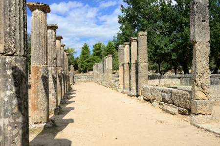 ancient olympic games:  Greece Olympia, ancient ruins of the Palaestra, area in which athletes trained for wrestling in Olympia, birthplace of the olympic games  -   UNESCO world heritage site   Editorial