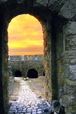 messinia: Fortress of Neokastro in Pylos at sunset time, Messinia, Greece Stock Photo