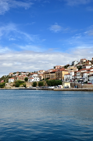 peloponnese: The town of Pylos at morning time  Messinia, Navarino bay, Greece Stock Photo
