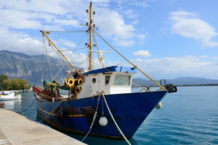 messenia: KALAMATA, GREECE - OCT 4  Fishing ship in marina of the chief port of the Messenia regional unit shown on oct 4, 2013 in Kalamata  Is the second most populous city of the Peloponnese