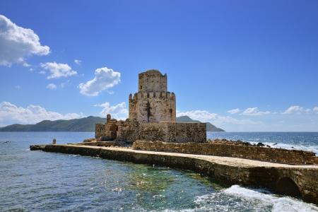 bourtzi: Bridge to the Bourtzi tower in Methoni Venetian Fortress in the Peloponnese, Messenia, Greece