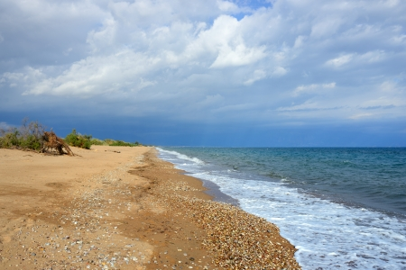 messinia: One from the best tourist place in Messenia, beautiful beach of Velika, beach with Blue Flag, Greece