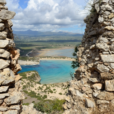 View on Voidokilia and Gialova lagoon from Palaiokastro castle of ancient Pylos  Greece Imagens