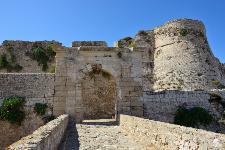 messenia: Bridge to the gate in Methoni Venetian Fortress in the Peloponnese, Messenia,  Greece