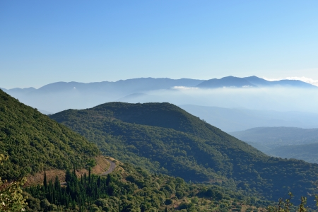 messinia: Messinia classical landscape, mountain in morning mist  Greece, Peloponnese