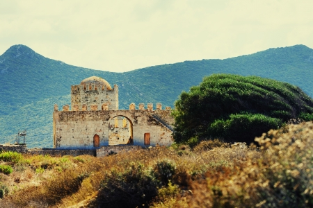 messinia: Methoni Venetian Fortress in the Peloponnese, Messenia,  Greece  Cross processing from RAW file
