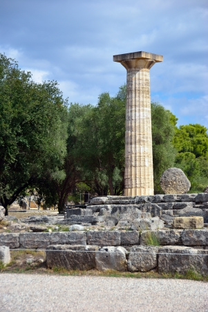 ancient olympic games: Greece Olympia, ancient ruins of the temple of Zeus, it most important building in the Altis in Olympia, birthplace of the olympic games