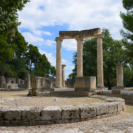 Ancient ruins of the Philippeion shown on 5 Oct 2013 in Olympia   Imagens