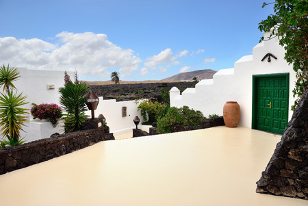 The courtyard in a traditional spanish house on the Lanzarote island, Canarian islands, Spain