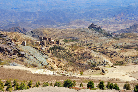 Classical landscape with traditional mountain villages in Eastern Haraz, Yemen