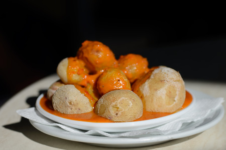 mojo: Canarian Salt Wrinkled Potatoes Papas Arrugadas with spicy red pepper sauce mojo rojo