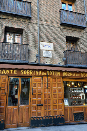 ernest hemingway: MADRID, SPAIN - MAR 03, 2014  Sobrino de Botin  Calle de los Cuchilleros, 17  - is oldest restaurant in world  1725 , was founded by a french man Jean Botin  Ernest Hemingway, in his travels to Spain often visited Botin Editorial