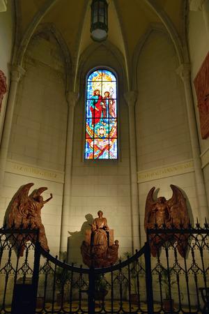 neogothic: Beautiful Neo-gothic interior of Santa Maria la Real de La Almudena - famous cathedral in Madrid, Spain  Editorial