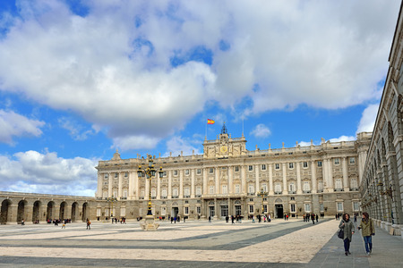 MADRID, SPAIN - MAR 3, 2014  Front view of Royal Palace in Madrid, Spain  Royal Palace of Madrid - is official residence of Spanish Royal Family