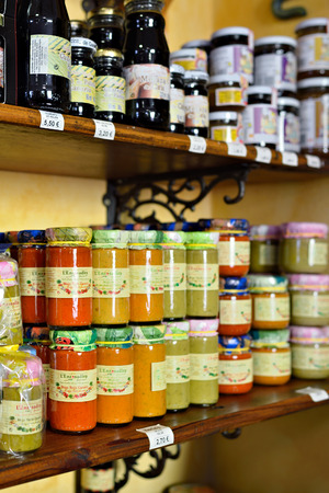 mojo: ARUCAS, GRAN CANARIA - FEB 26, 2014   Souvenir shop in Arucas  Most popular souvenir on Canary islands  is various spicy sauces like Mojo made an ancient recipe Editorial