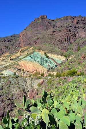 geological formation: Gran Canaria landmark  Unusual geological formation colored rocks in Fuentes de Los Secos