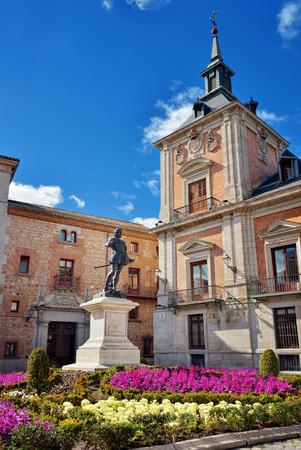 Plaza de la Villa with monument of a Don Alvaro de Bazan, Madrid, Spain