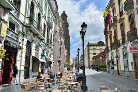17th: LAS PALMAS, SPAIN - FEB 28, 2014  City center of Las Palmas de Gran Canaria, Spain   Las Palmas was founded as a city in 1478 as capital of the Canary Islands until 17th century Editorial