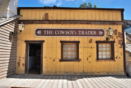 sioux: SIOUX CITY, GRAN CANARIA -  FEB 20, 2014  Cowboys trader house of wild west town in Sioux City  Popular tourist attraction in Gran Canaria island