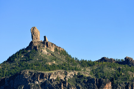 Symbol of the island Gran Canaria Roque Nublo  rock in clouds  is an ancient and sacred place of worship and main tourist attraction