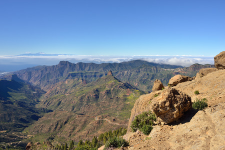 Beautiful Gran Canaria  landscape The Tenerife island on background  Canary island, Spain photo