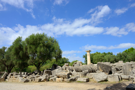 ancient ruins of the temple of Zeus in Olympia photo