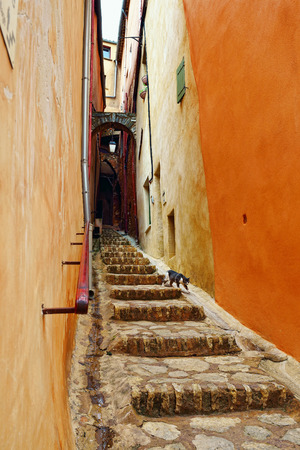 Narrow passage in Roussillon ocher village is included in list of  The most beautiful villages of France  photo