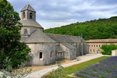senanque: Provence  An ancient monastery Abbaye Notre-Dame de Senanque   Abbey of Senanque  at early morning  Vaucluse, France  Stock Photo