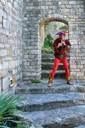 buffoon: PROVENCE, FRANCE - JUL 16, 2014  Unidentified musician perform in the street to entertain tourists in medieval village Vaison la Romaine This is one of the popular for outdoor performances in Provence