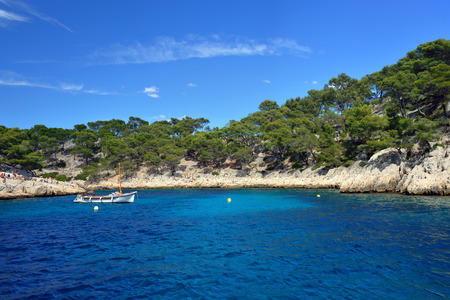 The bay and limestone cliffs in a calanque near Cassis France photo