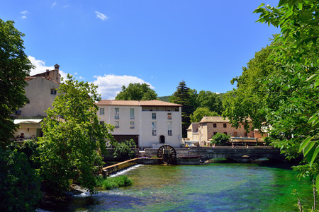 fontaine: Medieval Village Fontaine de Vaucluse on the river shore. The poet Petrarch made it his preferred residence in the 14th century